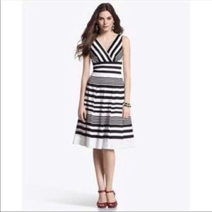 WHBM Stripe Fit and Flare Stripe Pleated Sundress